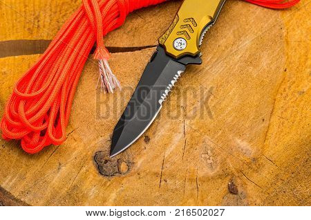 Blade of a knife with a saw for cutting cords and a safety belt. Orange rope.