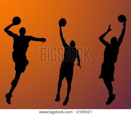 Basketball players on orange background play the game poster