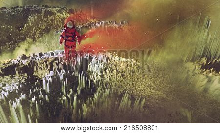 surreal sci-fi concept of the red astronaut walking on surface of planet, digital art style, illustration painting