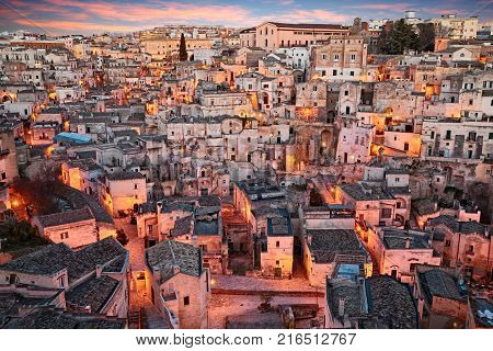 Matera, Basilicata, Italy: landscape at sunrise of the picturesque old town called Sassi di Matera, city European Capital of Culture 2019