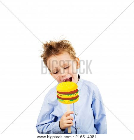 Cute Little School Boy With Fake Paper Burger Against A White Background. Cheerful Smiling Kid With