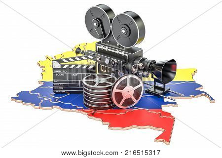 Colombian cinematography film industry concept. 3D rendering isolated on white background