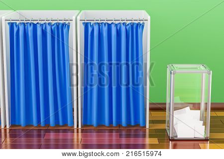 Election ballot box with polling booths on the wooden floor 3D rendering