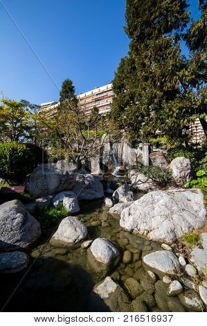 Waterfall japanese garden in Monte Carlo Monaco France