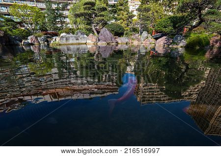 Japanese garden in Monte Carlo Monaco France