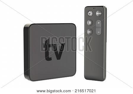 Modern Digital Media Player TV 3D rendering isolated on white background