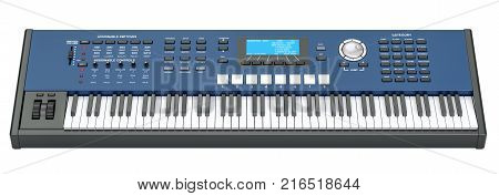 Synthesizer 3D rendering isolated on white background