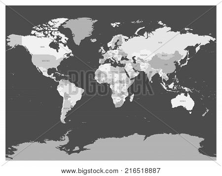 World map in four shades of grey on dark background. High detail blank political map. Vector illustration.