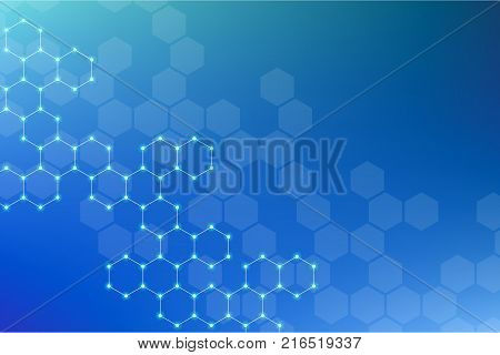 Abstract hexagonal molecule background, genetic and chemical compounds system. Geometric graphics and connected lines with dots. Scientific and technological concept, illustration