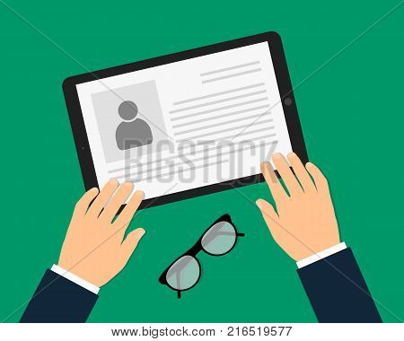 A man in a suit view resume on tablet. CV application. Selecting staff, headhunting. Searching professional staff. Analyzing personnel resume flat design, vector illustration.