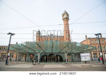 Ghent, Belgium - April 16, 2017: Gent-Sint-Pieters - main railway station with glass, was originally built for 1912 World Expo. Ghent, Belgium