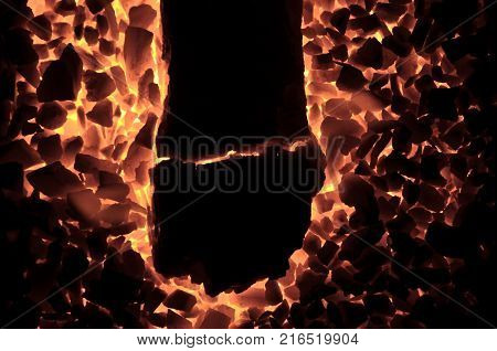 Burning coal anthracite, as a background of black and orange flowers.