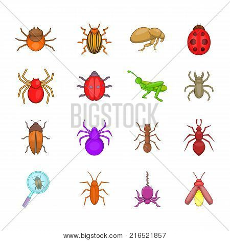 Bugs icon set. Cartoon set of bugs vector icons for your web design isolated on white background