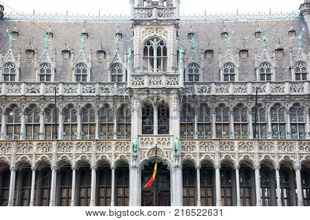 Brussels, Belgium - April 22, 2017: Details of the Museum of the City of Brussels is a museum on the Grand Place in Brussels, Belgium.