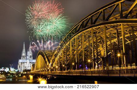 celebrating new year's eve in n Koln, Germany - fireworks around the Cologne cathedral