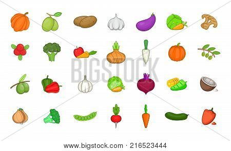 Vegetables icon set. Cartoon set of vegetables vector icons for your web design isolated on white background