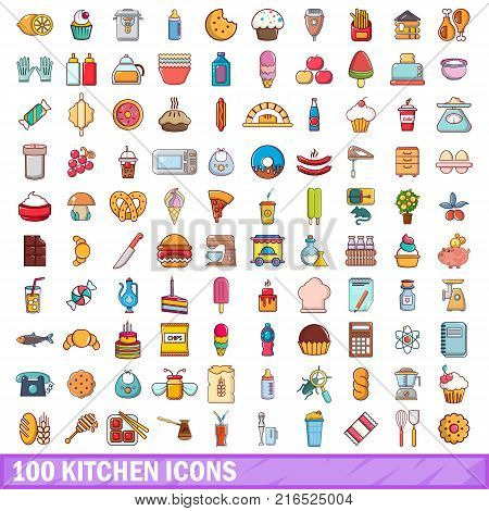 100 kitchen icons set. Cartoon illustration of 100 kitchen vector icons isolated on white background