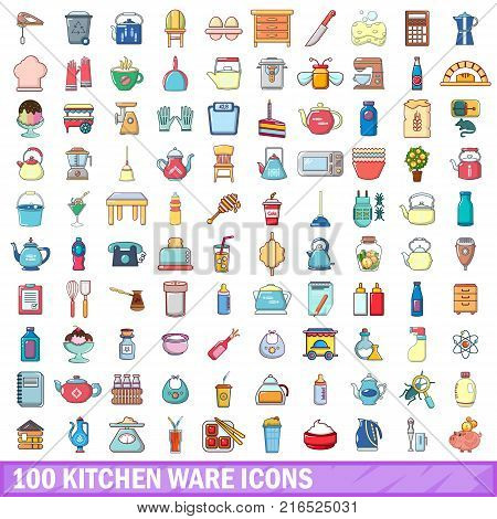100 kitchen ware icons set. Cartoon illustration of 100 kitchen ware vector icons isolated on white background