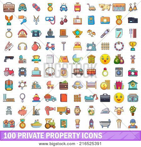 100 private property icons set. Cartoon illustration of 100 private property vector icons isolated on white background
