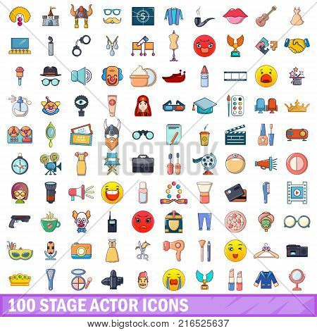 100 stage actor icons set. Cartoon illustration of 100 stage actor vector icons isolated on white background