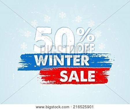 50 percent off winter sale - text in red blue drawn banner with snowflakes business holiday shopping concept