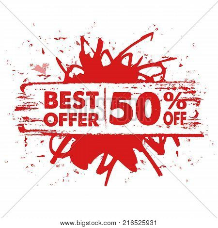 best offer 50 percent off in text banner red label business commerce shopping concept