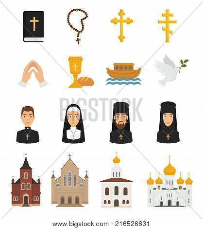 Christian icons vector christianity religion signs and religious symbols church faith christ bible cross hands praying to God illustration isolated on white background.
