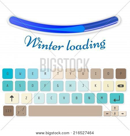 Modern realistic keyboard for smartphone or tablet PC with alphabet buttons. Vector modern keyboard. Winter Loading Concept for kids.