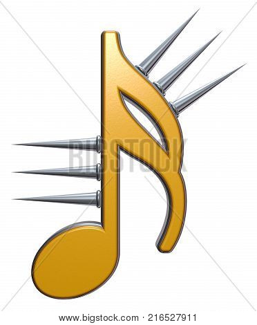 music note symbol with prickles on white background - 3d rendering
