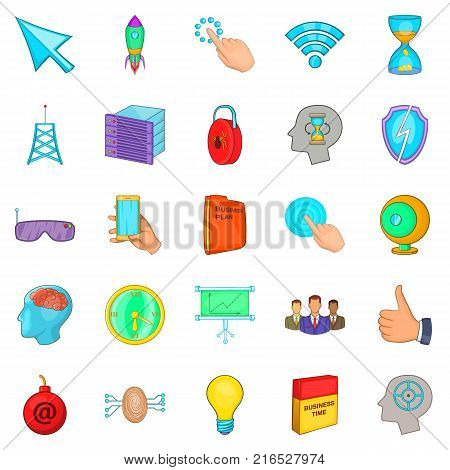 Commercial advertising icons set. Cartoon set of 25 commercial advertising vector icons for web isolated on white background