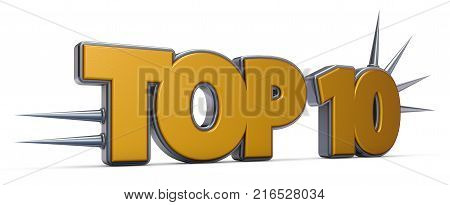 top 10 symbol with prickles on white background - 3d rendering