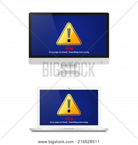 Exclamation mark on computer screen with 404 error page not found. Internet error sign. Vector isolated illustration of realistic pc computer and laptop error.