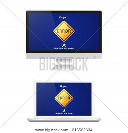Error mark on computer screen with 404 error page not found. Internet error sign. Vector isolated illustration of realistic pc computer and laptop.