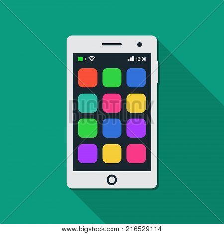 Smartphone with blank app icons. Mobile phone touchscreen with empty application icons. Vector isolated white mobile phone on blue background.