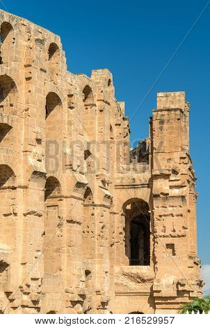 Amphitheatre of El Jem, a UNESCO world heritage site in Tunisia, North Africa