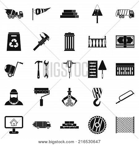 Building material icons set. Simple set of 25 building material vector icons for web isolated on white background