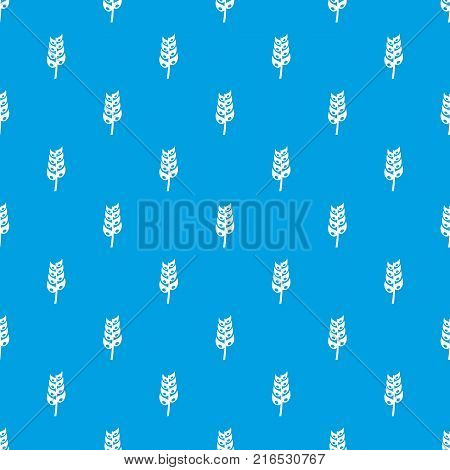 Ripe spica pattern repeat seamless in blue color for any design. Vector geometric illustration