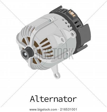 Alternator icon. Isometric illustration of alternator vector icon for web