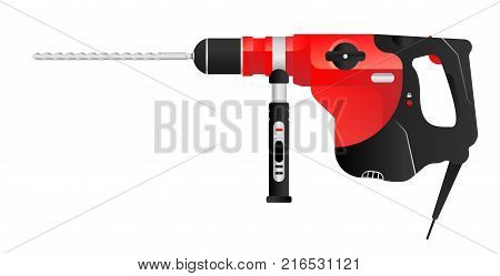 Vector red puncher tool for construction and repair. Flat vector illustration EPS 10.