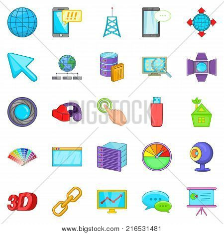 Progressive advertising icons set. Cartoon set of 25 progressive advertising vector icons for web isolated on white background