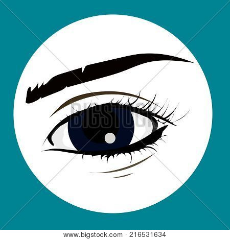 Eye on white background. Eyes art. Woman eye. The eye logo. Eyes art. Human eye close up - vector. Beauty salon, lash and brow maker