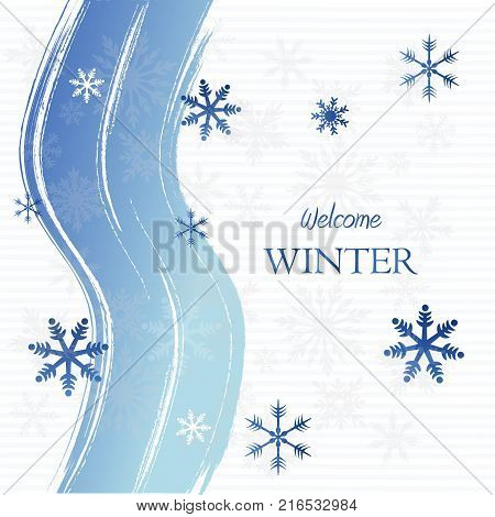welcome winter - text with curved lines over light blue background with snowflakes, seasonal concept card, vector