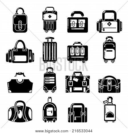 Bag baggage suitcase icons set. Simple illustration of 16 bag baggage suitcase vector icons for web