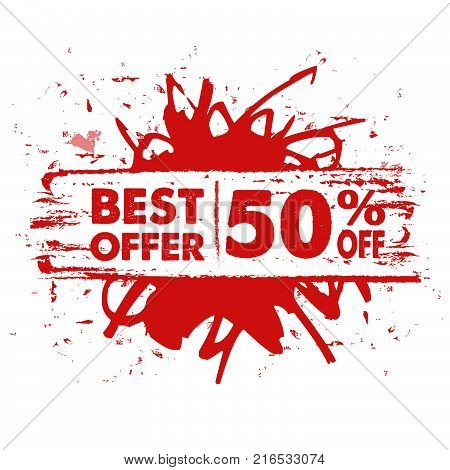 best offer 50 percent off in text banner, red label, business commerce shopping concept, vector