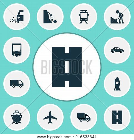 Transport icons set with slippery, streetcar, spaceship and other van elements. Isolated vector illustration transport icons.