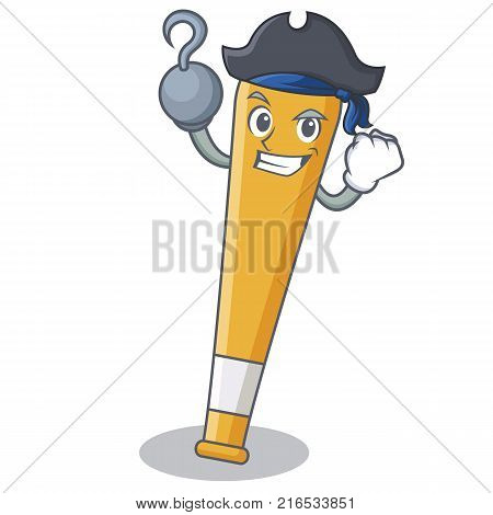 Pirate baseball bat character cartoon vector illustration