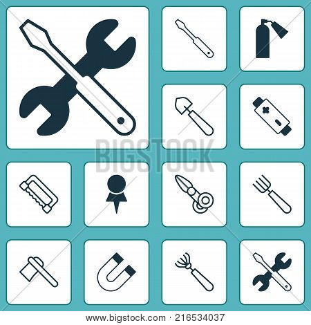 Equipment icons set with garden fork, tomahawk, location and other alkaline elements. Isolated vector illustration equipment icons.