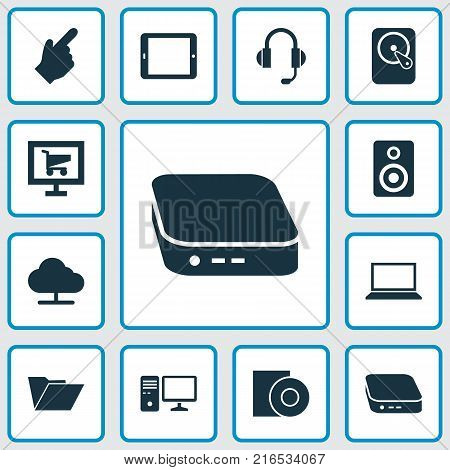 Digital icons set with palmtop, nettop, hdd and other nettop elements. Isolated vector illustration digital icons.