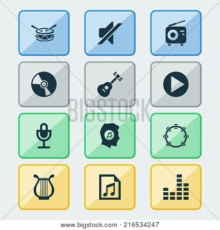 Multimedia icons set with timbrel, tuner, cd and other tuner elements. Isolated vector illustration multimedia icons.