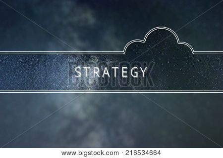 STRATEGY word cloud Concept. Space background. STRATEGY